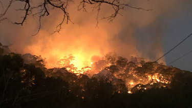 A fire threatens homes at Hepburn, Victoria, in February this year.