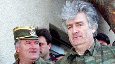 Former Bosnian Serb wartime leader Radovan Karadzic (R) and his general, Ratko Mladic.