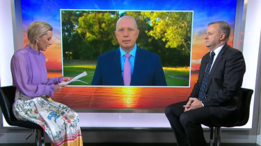 Signing off ... Anthony Albanese with Peter Dutton (on screen) on the Today Show in June.