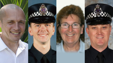 Forever remembered: Senior Constable Kevin King, Constable Josh Prestney, Leading Senior Constable Lynette Taylor and Constable Glen Humphris.