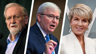 Former Australian foreign ministers Gareth Evans, Kevin Rudd and Julie Bishop believe Australia should have a more ambitious foreign policy agenda.