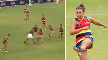 Crows player Ebony Marinoff (right) has had her three-match ban for this incident against the Giants overturned.