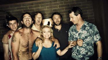 James Frecheville (left), Sullivan Stapleton, Luke Ford, Jacki Weaver, Joel Edgerton and Ben Mendelsohn in Animal Kingdom.