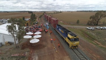 """The $14.5 billion Inland Rail project began with a """"sod turn"""" at Parkes, NSW, in December 2018."""