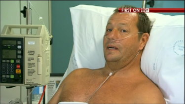 Dave Pearson, recovering in hospital after the shark attack.