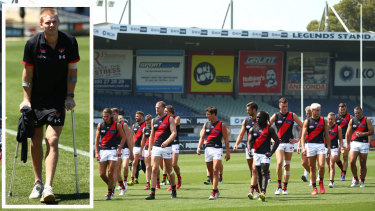 Essendon training: Michael Hurley pays a visit.