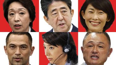 L-R top then bottom: Seiko Hashimoto,Shinzo Abe, Tamayo Marukawa, Koji Murofushi, Mikako Kotani, Yasuhiro Yamashita.