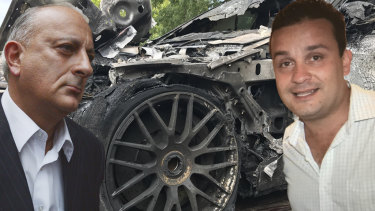 Bill Jordanou (left), Nick Bochrinis and the Mercedes that was torched at Mr Bochrinis'  Alphington home.