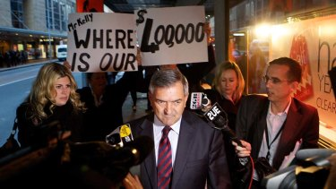 Former NSW Labor heavyweight Tony Kelly, pictured leaving the ICAC in 2011, made a surprise return to a party fundraiser on Sunday.
