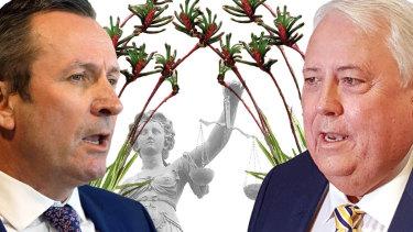 WA Premier Mark McGowan and billionaire Clive Palmer.