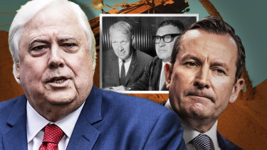 Mark McGowan's emergency law stopping Clive Palmer from arbitration against the state is not as unprecedented as the WA government has us believe. A similar law was brought in against Lang Hancock and Peter Wright in the 1970s.