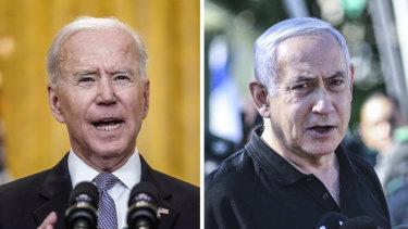 At odds over ceasefire: Joe Biden and Benjamin Netanyahu.