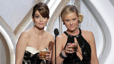 Golden Globes co-hosts Tina Fey and Amy Poehler.