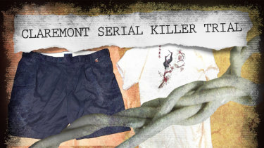 Some of the evidence shown to the court: the kimono, Telstra work shorts and the cord used to tie the Karrakatta rape victim.