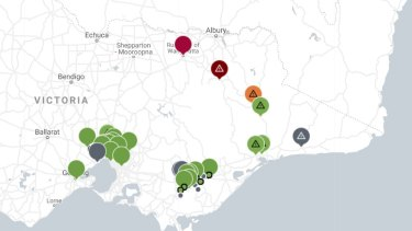 Air quality ratings throughout Victoria on Sunday. Green = good, Red = very poor, Black = hazardous