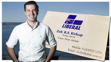 The business card WA Liberal leadership contender Zak Kirkup mailed to Gary Adshead as a teenager after handing one like it to then Prime Minister John Howard in the early 2000s.