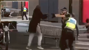The moment the rookie policeman shot Bourke Street terrorist Hassan Khalif Shire Ali.