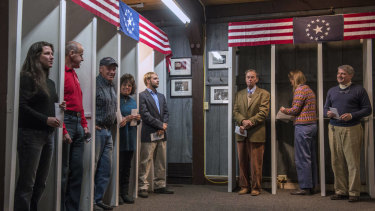 The eligible voters in Dixville Notch prepare to cast their ballots in the 2012 US presidential election.