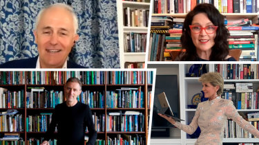 Clockwise from top left, Malcolm Turnbull, Annabel Crabb, Julie Bishop and Gideon Haigh show off their bookshelves.