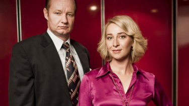 Asher Keddie and Rob Carlton as Ita Buttrose and Kerry Packer in the ABC's Paper Giants: The Birth of Cleo.