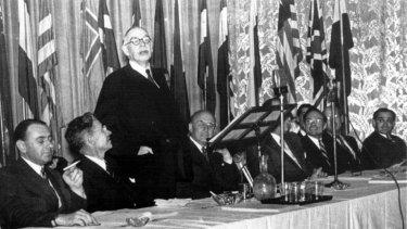 John Maynard Keynes speaks to the Bretton Woods conference in July 1944.