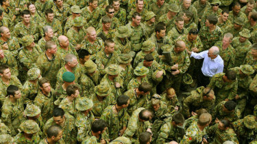 Then prime minister John Howard meeting Australian Troops in East Timor's capital city of Dili in 2006.