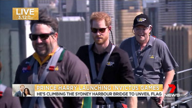 Prince Harry and Prime Minister Scott Morrison scale the Sydney Harbour Bridge.