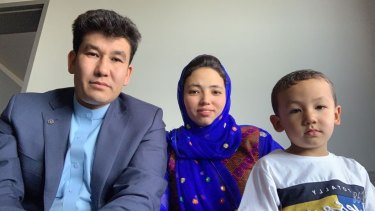 Afghan Australian Neamat Rahimi, his wife, Fouzia, and four-year-old son, Mirwais, in hotel quarantine in Melbourne.
