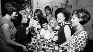 Mock-up of a dinner party to launch Margaret Fulton's cook book in 1968.