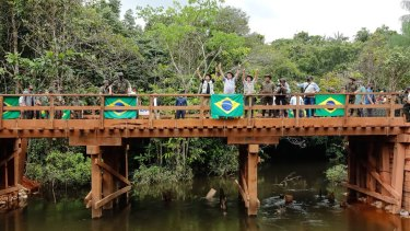 The wooden bridge inaugurated by Brazilian President Jair Bolsonaro leads to an area wheremajor reserves of niobium have been found.