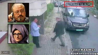 Jamal Khashoggi walking into the Saudi consulate in Istanbul. Inset: Khashoggi and his fiancee Hatice Cengiz.