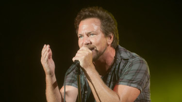 Eddie Vedder of Pearl Jam, performing at Big Day Out 2014. A new book argues the band is still relevant not only for its music, especially its adventurous and communal live show, but for political activism never stymied by commercial imperative.
