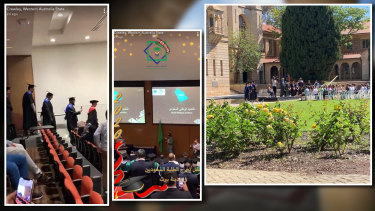 A smaller graduation ceremony held on the UWA campus in October, and a student filmed project set to look like a graduation.