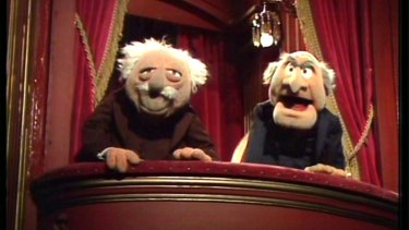 Statler and Waldorf, Muppet hecklers, are a bit like those in the Twitter audience.