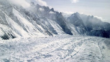 An aerial view of the Siachen Glacier, which traverses the Himalayan region dividing India and Pakistan.
