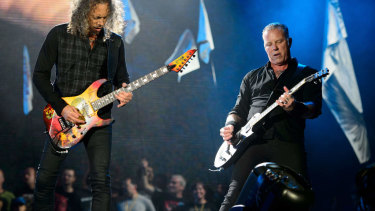 Metallica's Kirk Hammett (left) and James Hetfield on stage. The band's upcoming Australian tour has been cancelled due to Hetfield undergoing an addiction treatment program.
