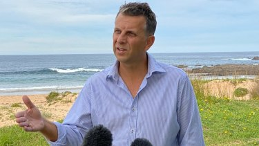 NSW Transport Minister Andrew Constance in his electorate on Wednesday. He has blamed his colleagues for a smear campaign that ended his federal byelection hopes.