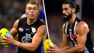 A tough choice: Carlton's Patrick Cripps and Collingwood's Brodie Grundy.