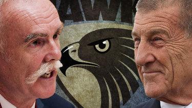 Former Australian Super boss Ian Silk and Hawks president Jeff Kennett.