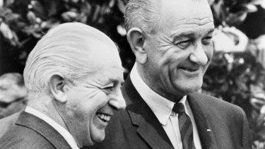 Harold Holt, left, backed Lyndon Johnson all the way in Vietnam.