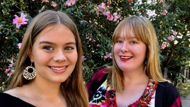 Rose Cox (right) and her sister Stella were helped by Kookaburra Kids and Rose now volunteers with the organisation.