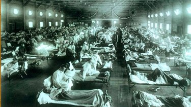 A Spanish flu military hospital camp in Funston, Kansas.