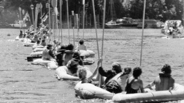 Demonstrators line up their rubber rafts across the Gordon River near the proposed Franklin River dam site in 1982.