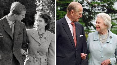 The Queen and Prince Philip, pictured in 2007, recreate a photo from earlier in their marriage.