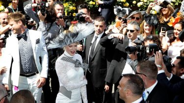 Nicole Kidman in the Birdcage at Flemington in 2012, arriving at the Swisse marquee.