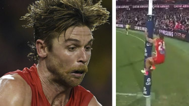 Controversy: Sydney's five-point win over Essendon has been overshadowed by Dane Rampe's actions as David Myers lined up for an after-the-siren shot on goal.