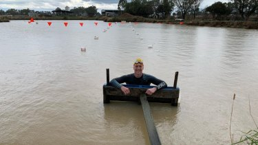 Col Pearse training in a dam on his family's farm in Echucain country Victoria.