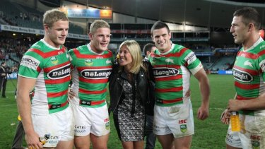 The four Burgess brothers with their mother Julie.
