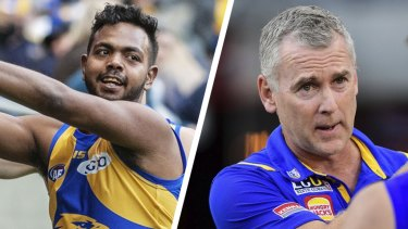 Adam Simpson (right) said he still trusted Willie Rioli, but it was not his decision if the 25-year-old returned to the club.