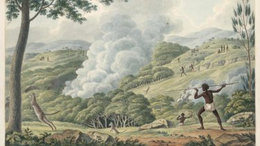 Historical perspective: First Australians using fire to hunt kangaroos, by Joseph Lycett, 1817.